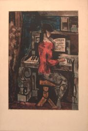 VILLON - Grommaire, La Femme au Piano, aguatinta en colores