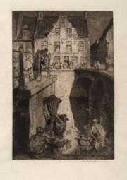 Brangwyn The Inn of the Parrot, aguafuerte