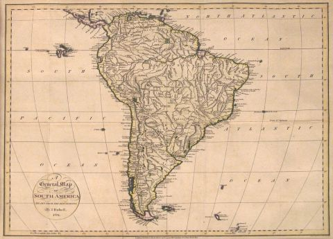 RUSSEL, John: 'A GENERAL MAP OF SOUTH AMERICA DRAWN FROM THE BEST SURVEYS by. J. Rousell, 1794. Londres