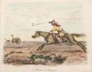 BOILLY. Chasse austruche y Soldat Indienne, grabados 1836, acuarelados a mano