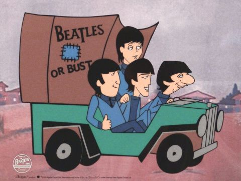 Beatles, Or Bust, celuloide de animación (Animation Cell), Recreación de los Cartoons Series The Beatles del Saturday