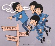 Beatles, Croc ,Hippies, celuloide de animación (Animation Cell), recreación  de los Cartoons Series The Beatles del