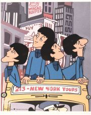 Beatles, New York City, celuloide de animación (Animation Cell), recreación de los Cartoons Series The Beatles