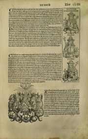 SCHEDEL, Hartmann: LIBER CHRONICARUM (THE NUREMBERG CHRONICLE). Nuremberg, 1493. Hoja del incunable enmarcada.