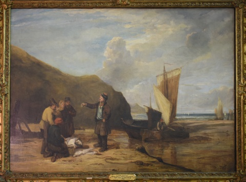 Williams Collins, 'A fish auction on the South coast of Devonshire' óleo de 85 x 116 cm. Marco con deterioros.